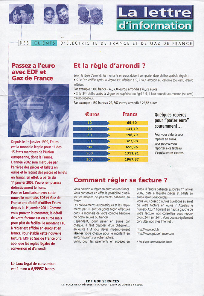 The newsletter for customers of electricity de France and gas de France