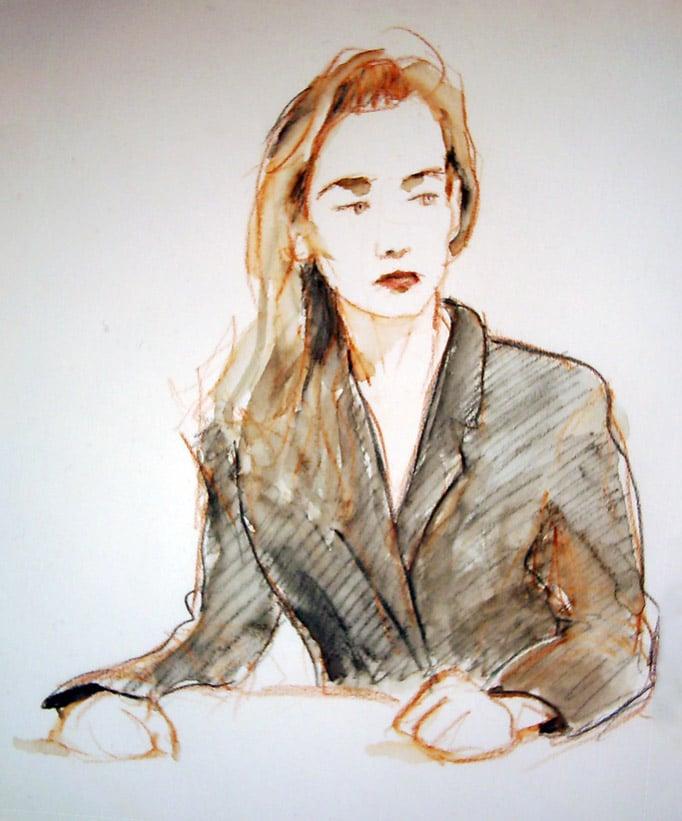 portrait aux crayons de couleurs aquarellables