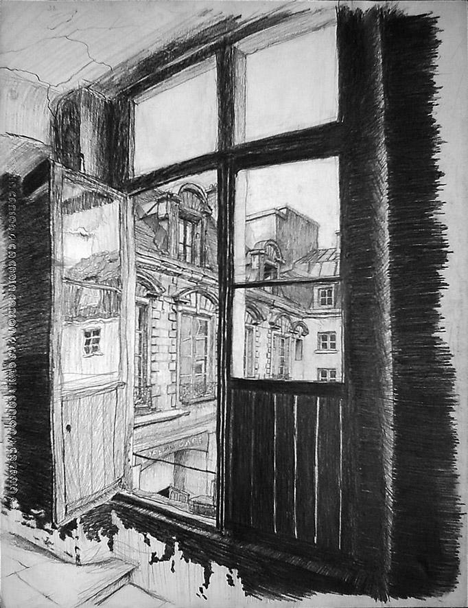 dessin au crayon face au Café de la Gare