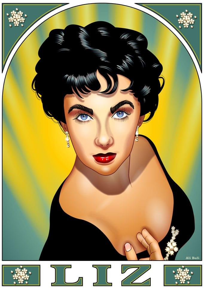 portrait de Liz Taylor réalisé en Flash