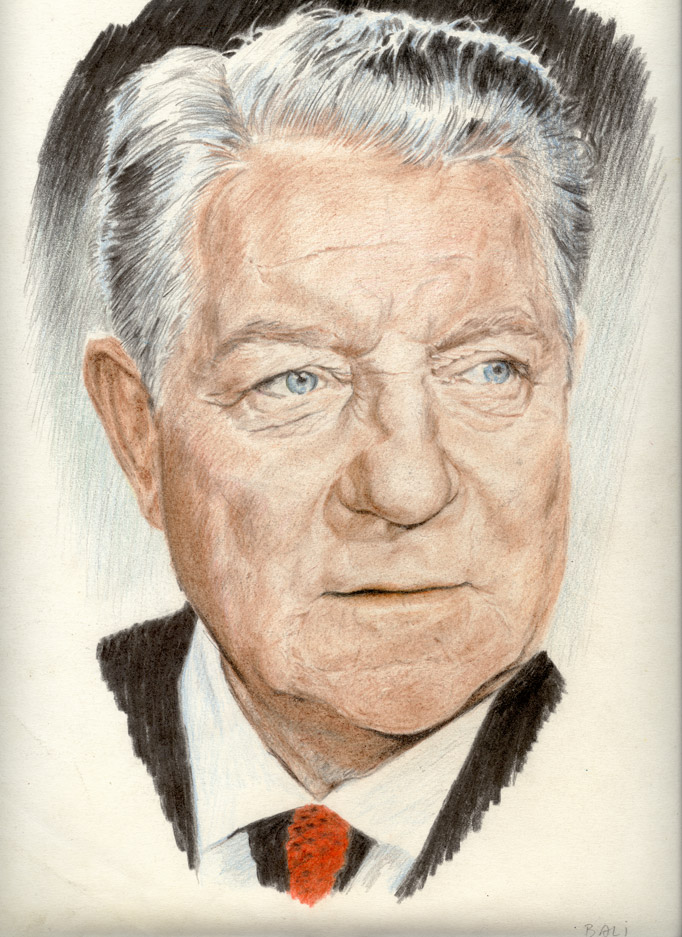 Portrait of Jean Gabin with pencils of color