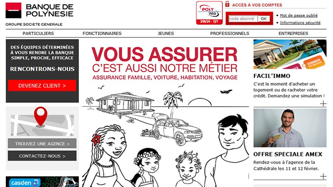 Banque de Polynésie - page d'accueil du site Web