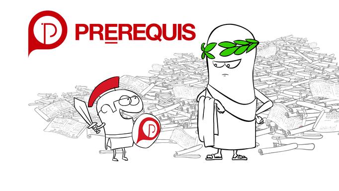 PréRequis - Dessin animé publicitaire avec César et le Gladiateur
